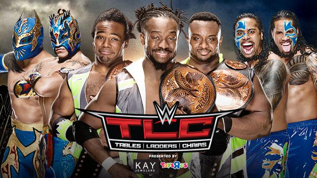 WWE Tag Team Champions The New Day vs. The Usos vs. The Lucha Dragons (Triple Threat Ladder Match)