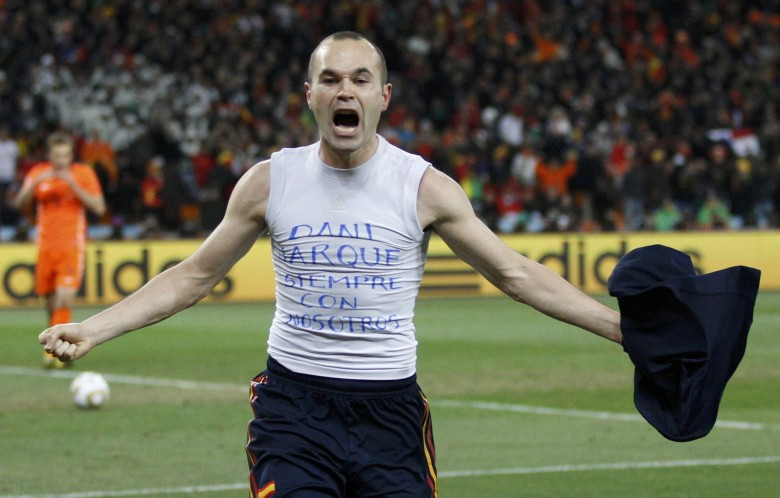Spain's Iniesta celebrates his goal during the 2010 World Cup final soccer match against Netherlands at Soccer City stadium in Johannesburg