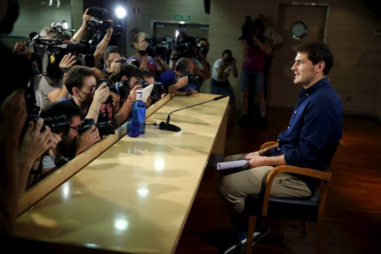 Departing Real Madrid captain and goalkeeper Iker Casillas arrives to read a statement at Santiago Bernabeu stadium in Madrid, Spain