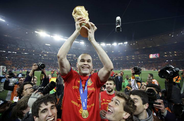 File photo of Spain's Andres Iniesta holding the World Cup trophy after the 2010 World Cup final soccer match between Netherlands and Spain at Soccer City stadium in Johannesburg