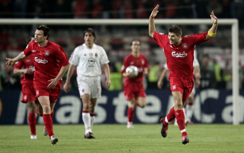 Liverpool's Riise and Gerrard celebrate their first goal during Champions League finals