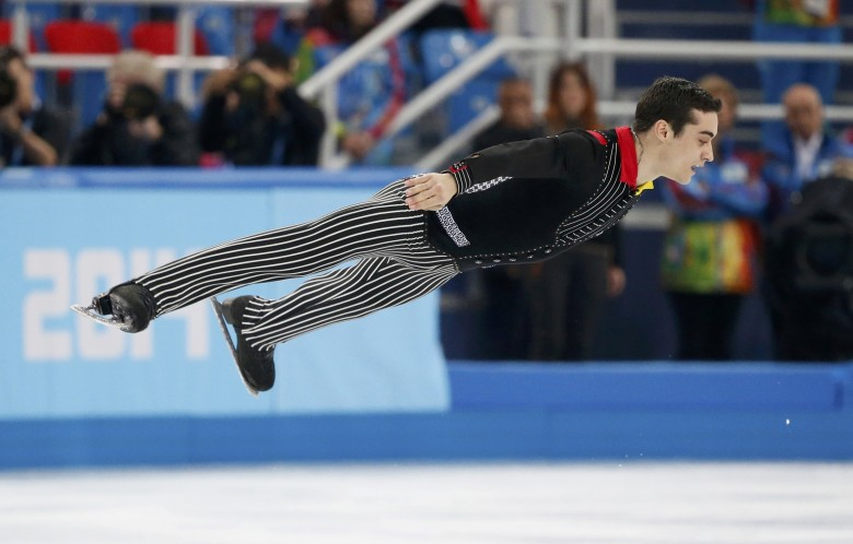 Javier Fernandez during the figure skating men's short program at the Sochi 2014 Winter Olympics