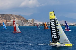 October 3, 2014. The fleet lines up for the practice Race start in Alicante.
