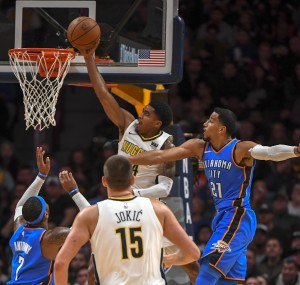 Denver Nuggets versus the Oklahoma City Thunder